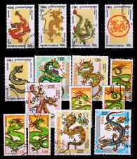 DRAGON ON STAMPS-15 Different Thematic Postage Used Stamps
