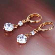 Pretty quality White Swarovski crystal brand new 18k gold filled dangle earring