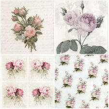 4x partito unico Pranzo Tovaglioli di carta per Decoupage Decopatch Craft ROSE mix