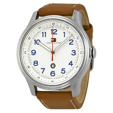 Tommy Hilfiger White Dial Brown Leather Mens Watch 1710311