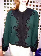 Vintage Trachtenmoden ALPENTRAUM Green/Black Wool Cardigan Sweater (D 42/US 14)