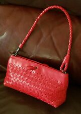"Estate Fine Bottega Veneta Red Intrecciato Woven Leather Braided Strap 8""+ Bag"