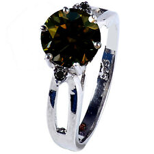 1.67 .ct Si1/BROWN REAL ROUND MOISSANITE & NATURAL BLACK DIAMOND.925 SILVER RING
