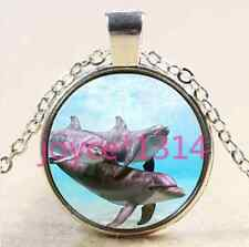 Vintage Dolphin Cabochon Tibetan silver Glass Chain Pendant Necklace#XP-2567