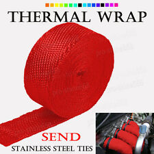 "RED Manifold Header Exhaust Thermal Heat Tape Wrap + Ties 2"" x 50FT Fit Ford"