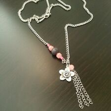 29 inch Long Fashion Silver Pink Gray Flower Pendant Charm Necklace Jewelry