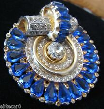 Vintage Clear Sapphire Rhinestone Brooch Pin Art Deco 1930's Open Set Heavy