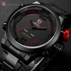 Men 3D Shark Digital LED Date Day Stainless Steel Sport Alarm Quartz Wrist Watch