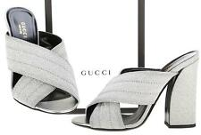 NEW GUCCI CURRENT SPARKLING GLITTER CROSSOVER SANDALS HEELS SHOES 39