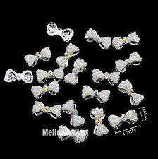#CA065 10pcs 3D Nail Art Decoration Pearl Bow Alloy Jewelry Glitter Rhinestones