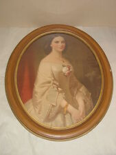 ANTIQUE VINTAGE LARGE WOOD WOODEN OVAL PICTURE FRAME WITH OLD PICTURE INSIDE