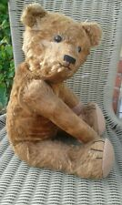 """Antique german ? 17"""" cinnamon brown character early jointed mohair teddy bear"""