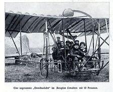Aeroplan Lemaitres mit 10 Personen Historische Aufnahme von 1910