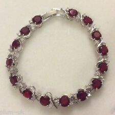 "GB093 Red Ruby Silver Bracelet (18ct white GF) Sw Elements BOXED 7""/18cm x 8mm"