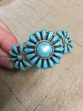 Native American Navajo Bracelet Turquoise Cluster Cuff Rosanna W Stunning Wow #2