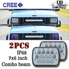 7x6  LED Headlights  Sealed Beam  Crystal Clear 6054 H6054 For Jeep Cherokee XJ