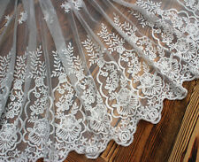 "1 Yard Lace Trim Ivory Tulle Cotton Embroidery Floral Wedding 17.7"" width"