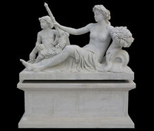 Life size Solid White marble statue Replica Versailles Lounging Woman and Cherub