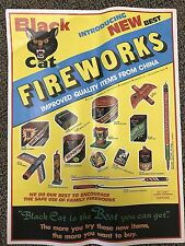 "RARE Vintage Li & Fung BLACK CAT Variety-15pc Fireworks POSTER 23"" firecrackers"
