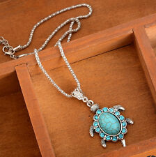 Cute Turtle Pendant Necklace Women Turquoise Rhinestone Retro Jewelry
