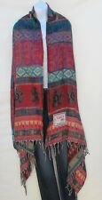 Yak Wool Shawl/Throw-Handloomed in Nepal-Reversible-Blk/Turquoise/Red/Purple/Tan