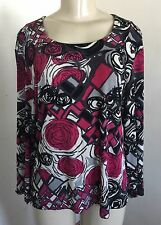 CHICOS TRAVELERS 2 L Top Pink Gray Black Abstract Floral 3/4 Slv Slinky Stretch