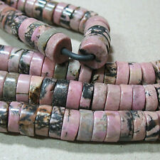 """NEW! Pink Rhodonite 10mm Heishi Rondelle 2mm Large Hole Beads 8"""" Leather Wire"""