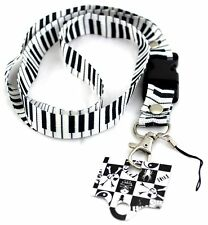 Black White Piano Musical Notes Key Chain Lanyard ID Badge Holder-New with Tags!