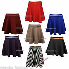 WOMENS LADIES PLEATED FLARED SKATER FRILL PARTY BELTED SHORT MINI SKIRT 8-14