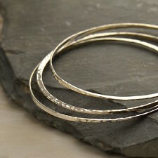 Hammered Finish 925 Sterling Silver Bangle Bracelet Stackable Minimalist