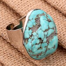 Nice Tibetan Rose Gold Carved Turquoise Adjustable Women Ring Jewelry