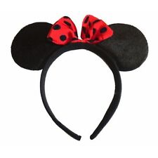 BLACK MINI MOUSE EARS WITH RED SPOTTY BOW FANCY DRESS HEN NIGHTS PARTY FUN RUNS