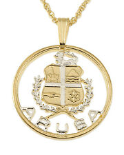 "Aruba Pendant & Necklace Hand Cut Aruba Coin 7/8""diameter ( # 809 )"