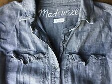 Madewell Denim Gray Chambray Button Up Front Pocket Boy Shirt Top Sz XS