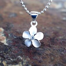 10mm Plumeria Hawaiian Genuine Silver Pendant Necklace Christmas Gift #SP43501