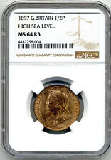 GREAT BRITAIN QUEEN VICTORIA 1897 HLAF PENNY HIGH SEA LEVEL NGC MS 64 RB
