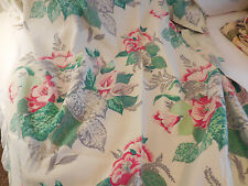 Vintage Nubby Gray & red Floral roses BARKCLOTH era Fabric Panel
