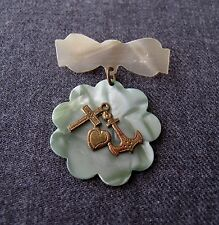ANTIQUE 1920'S ANCHOR HEART & CROSS IN METAL GREEN & CREAMY CELLULOID PIN UNUSED