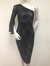 MAGGY LONDON Black Stretch Lace One Sleeve Fitted Cocktail Dress GR211M Sz 2 NWT