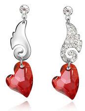 AMAZING Argento & Rosso Amore Cuore Cristallo in pendente ali d'angelo E332