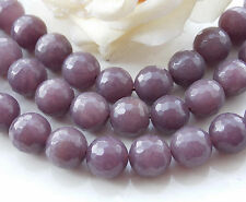Natural 12mm Gray Agate Onyx Faceted Round Loose Beads Gemstone 15'' T-121