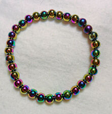 """Colourful Hematite 6mm bead bracelet - fits up to 7.5"""" - stretchy"""