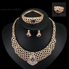 Hot Lover Wedding Purple Rhinestones Necklace Earrings Ring Bangle Jewelry Set