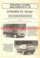 CITROEN ZX Break - 1992 : Dossier Technique Auto Evolution Carrosserie
