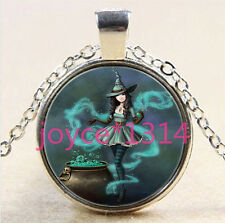 Vintage Witch Cabochon Tibetan silver Glass Chain Pendant Necklace *2852