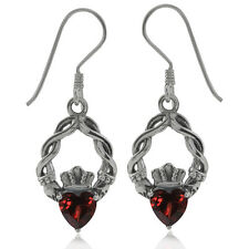 Natural Heart Shape Garnet 925 Sterling Silver Claddagh Dangle Earrings