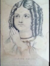 """Antique Currier & Ives lithograph """"Evening Prayer"""" New York, 1800's"""