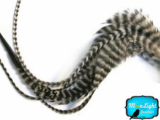6 Pieces - XL NATURAL Grizzly Thick Rooster Hair Extension Feathers