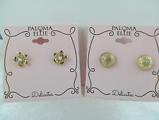 NWT DESIGNER PALOMA & ELLIE  GOLD & CRYSTAL FLOWER & ROUND 2 Pairs of EARRINGS,