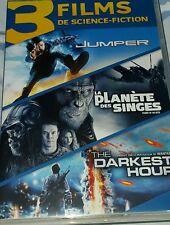 Coffret de 3 DVD des films JUMPER et LA PLANÈTE DES SINGES et THE DARKEST HOUR
